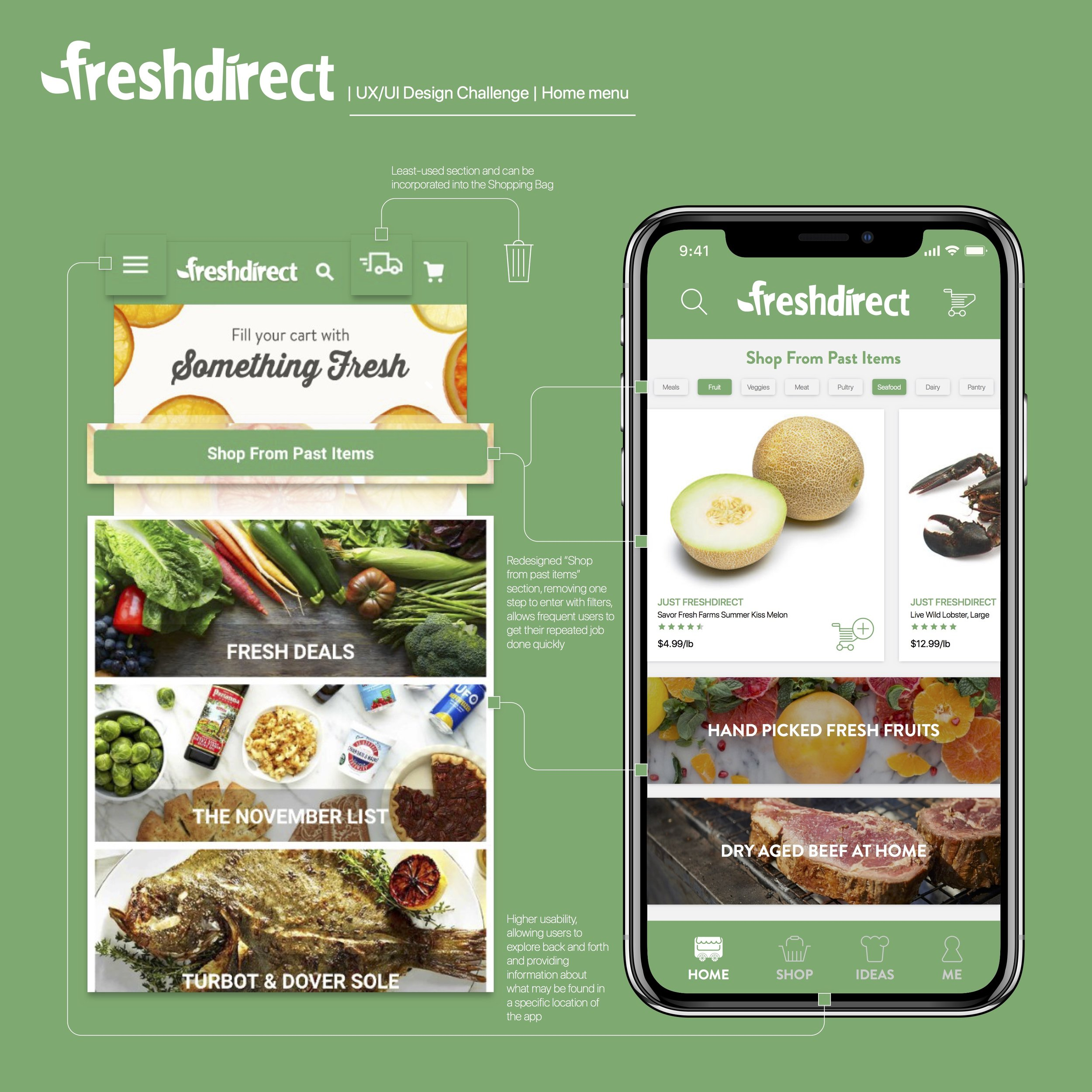 How might we revamp FreshDirect's current home menu to enhance customer loyalty through user experience?