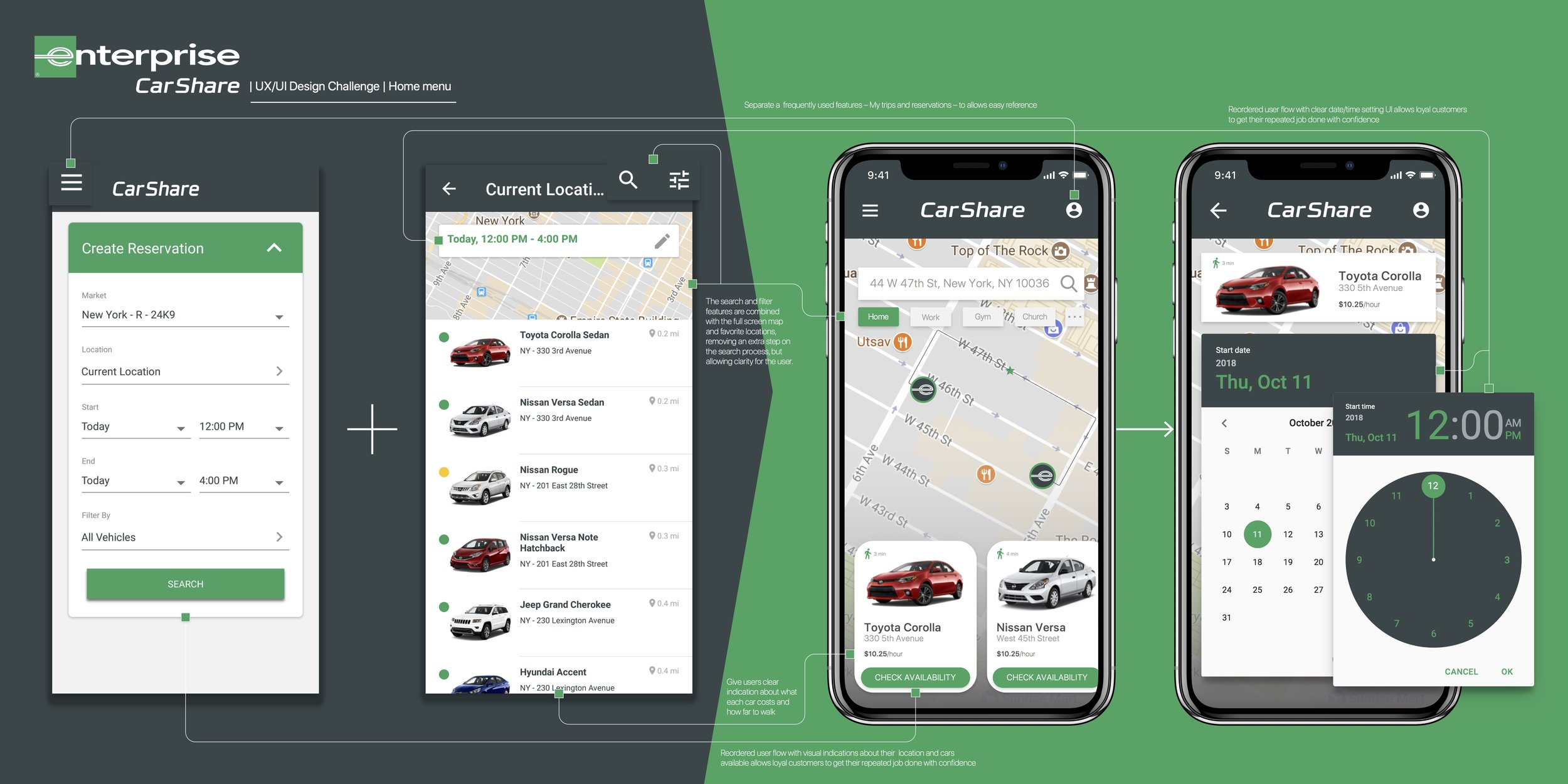 How might we combine Enterprise CarShare's current vehicle search menu to enhance usability in a quick and engaging way?