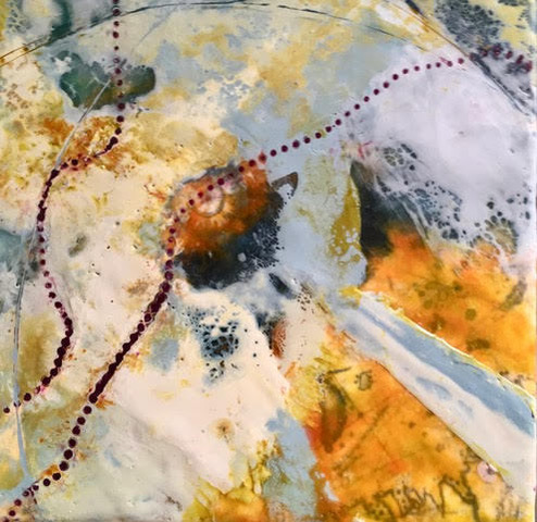 "2018  Encaustic on board- framed  8"" X 8"""