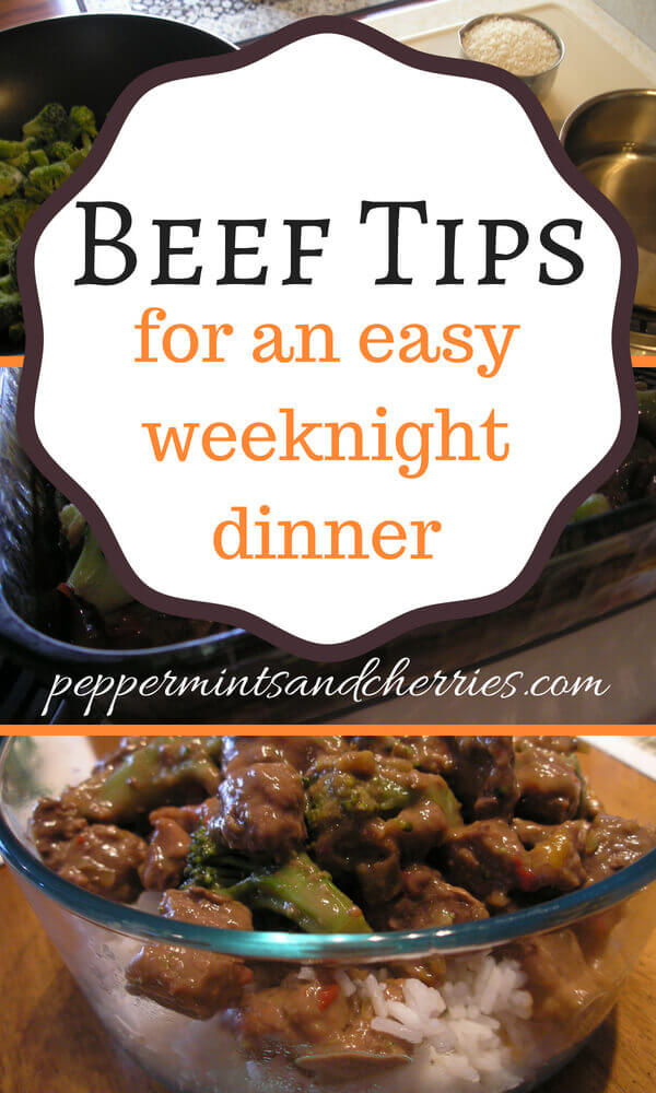 Beef Tips and Broccoli for an Easy Weeknight Dinner and Favorite Family Recipes Blog Hop www.peppermintsandcherries.com