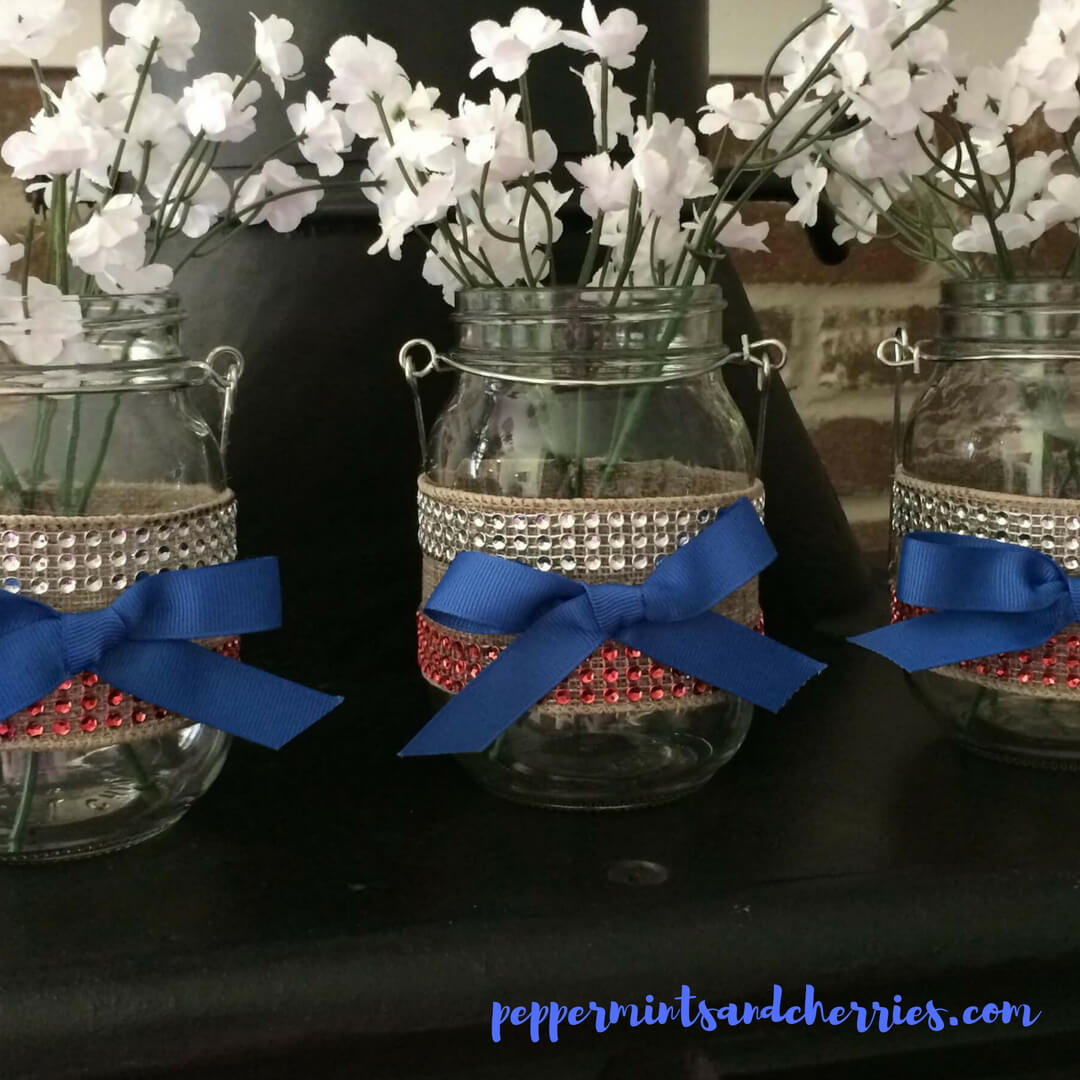 Patriotic Centerpiece with Farmhouse Style and a Touch of Bling www.peppermintsandcherries.com
