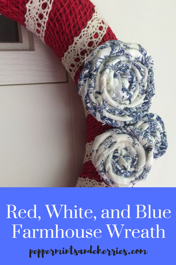 Farmhouse style is so trendy and makes a home feel welcoming and inviting, so what's better than patriotic farmhouse décor to welcome my family as we go to-and-from home during these hot summer months?!! This post features a simple tutorial for red, white, and blue farmhouse mini wreaths.  #farmhousestyle #farmhousedecor #patrioticdecor #redwhiteandblue #patrioticdecor
