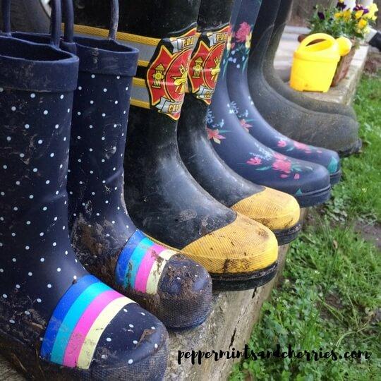 Muddy Rain Boots for Spring Gardening