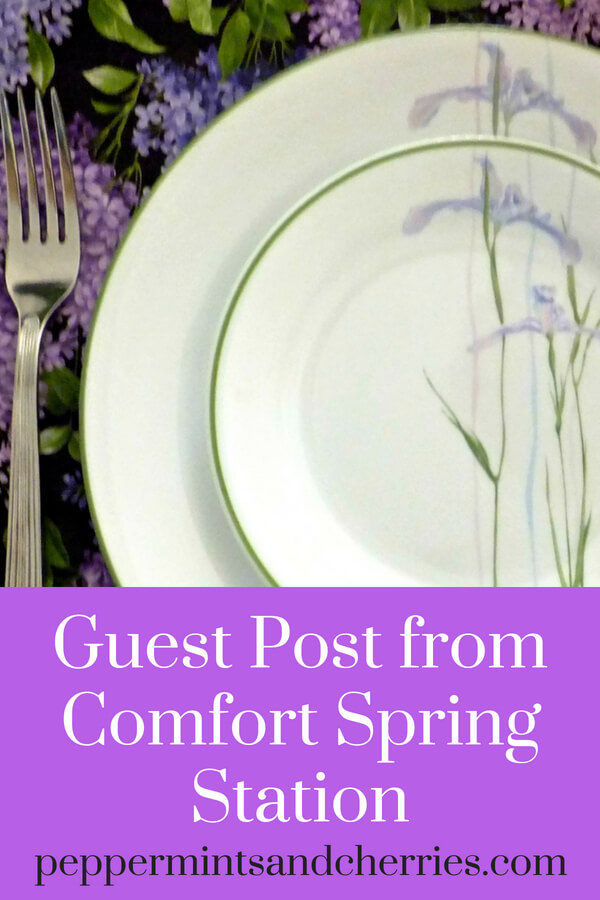 Guest Post from Comfort Spring Station at www.peppermintsandcherries.com Purple Iris Tablescape