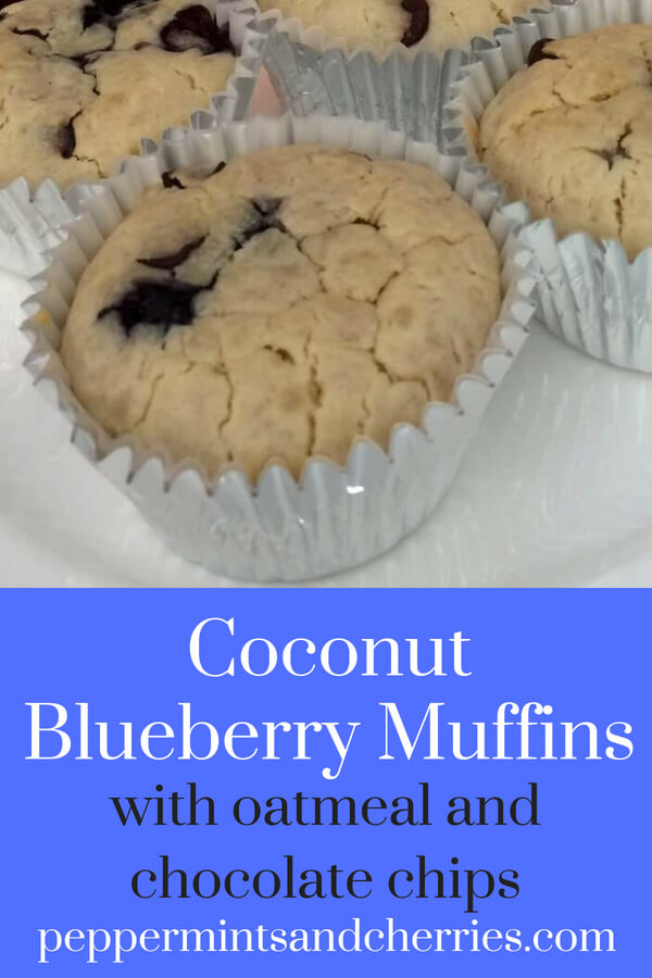 Coconut Blueberry Muffins with Oatmeal and Chocolate Chips Recipe www.peppermintsandcherries.com