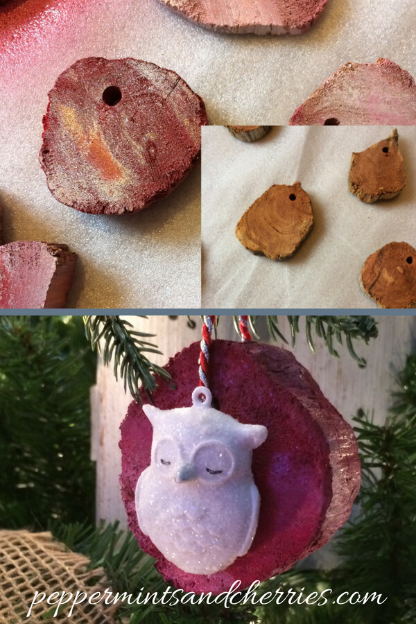 Wood Slice Christmas Ornaments Before and After www.peppermintsandcherries.com