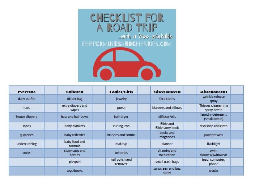 Free Printable Checklist for a Road Trip