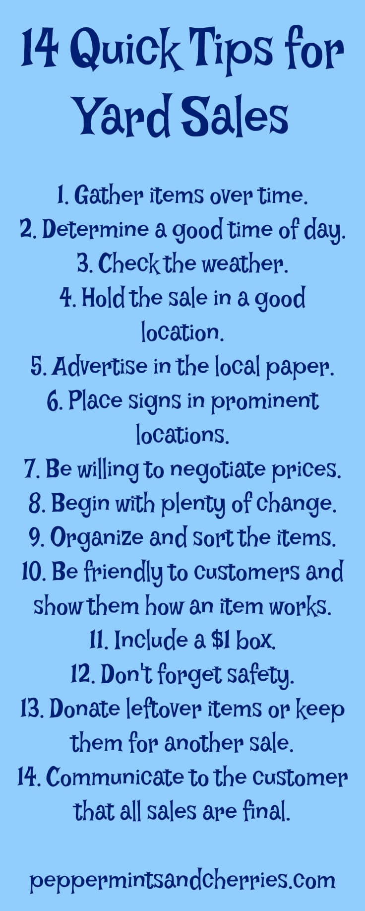 14 Quick Tips for Yard Sales www.peppermintsandcherries.com