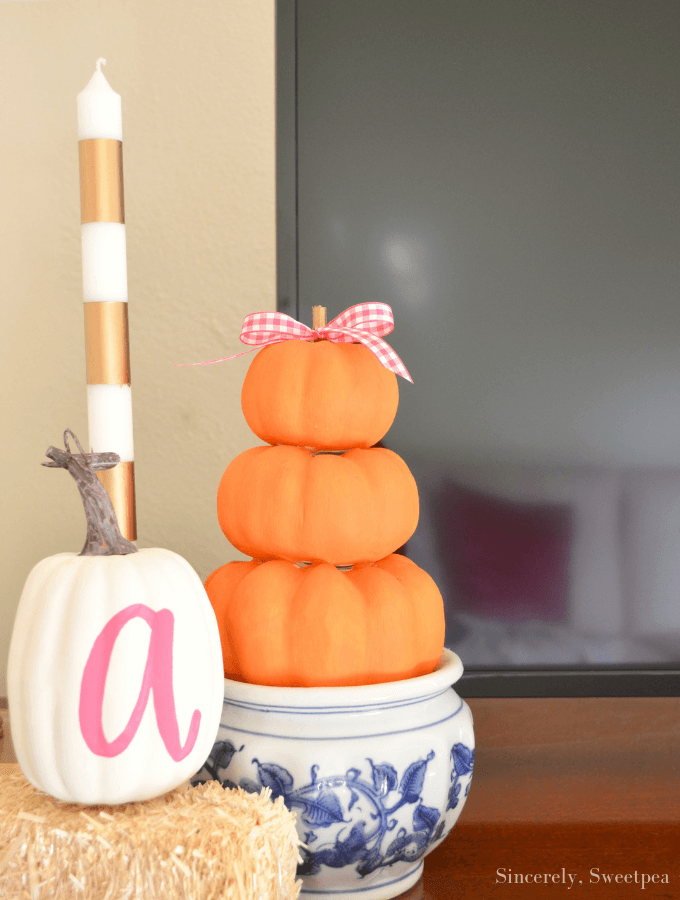DIY Pumpkin Topiary and A Peek At Our Living Room Featured from Sincerely Sweet Pea Blog