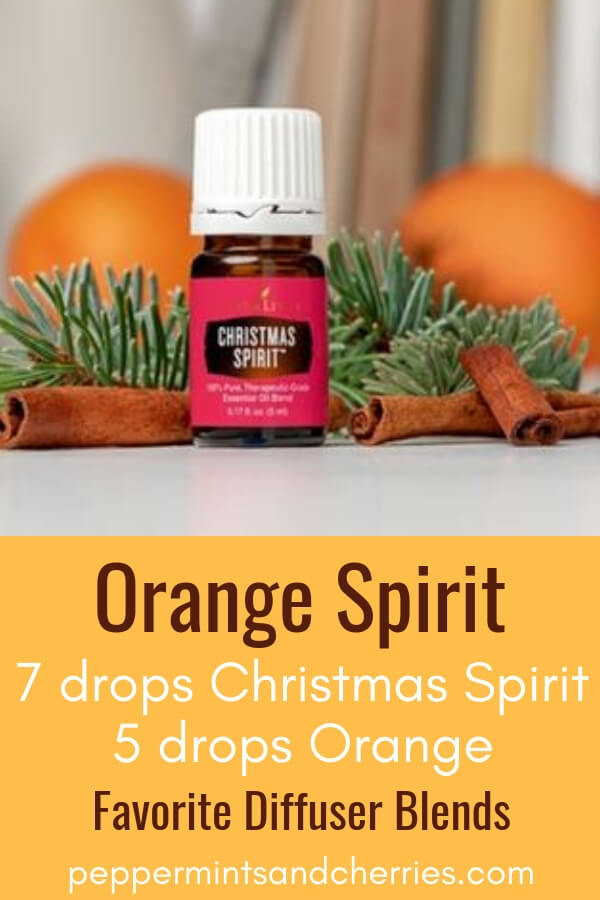 Favorite Diffuser Blends; Orange Spirit made with Christmas Spirit and Orange Essential Oils by Young Living #youngliving #younglivingessentialoils #younglivingaffiliate #diffuserblends #diffuserrecipes #essentialoilblends #essentialoilsrecipes #essentialoilblendsfordiffuser #diffuser