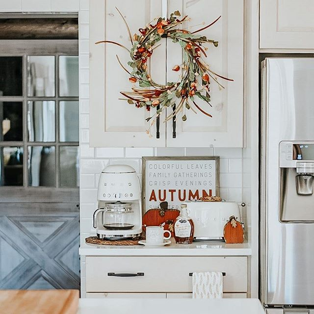 It's full on fall inside the house w/ a little bit of 'boo' action on the front porch. (Just enough to maintain 'cool' mom status!😜) Christmas is also right around the corner and there's nothing wrong with leaving a few hints around the house for 'Santa' (or sending him this post directly). These @smegusa appliances are the perfect modern farmhouse addition. I was worried because the reviews were very mixed and while I will say they're your typical appliances, the design is definitely worth the splurge (aka small fortune)!!! Everything feels heavy duty, they perform well & they are simply STUNNING in person.😍 We're talking swooooon worthy, mmmmkay!?!💯🤤 . . . . . #farmhouseinspired #falldecorating #falldecoratingideas #farmhousefalldecor #smegusa #woodsandwhites #vintagefarmhouse #farmhouseinspo #farmhousediningroom #betterhomesandgardens #homesweethome #homelove #cornersofmyhome #walltowallstyle #farmhousefeatures #smeg #joannfabrics #countrylivingmagazine #simplefarmhousetouches #theblondebartender