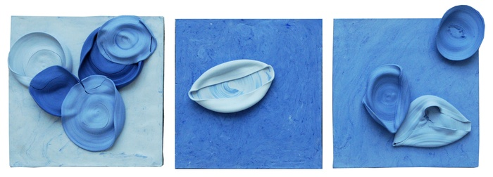 Blue Color Studies, Relief Tiles (3 Works), Jenny Blumenfield, 2017