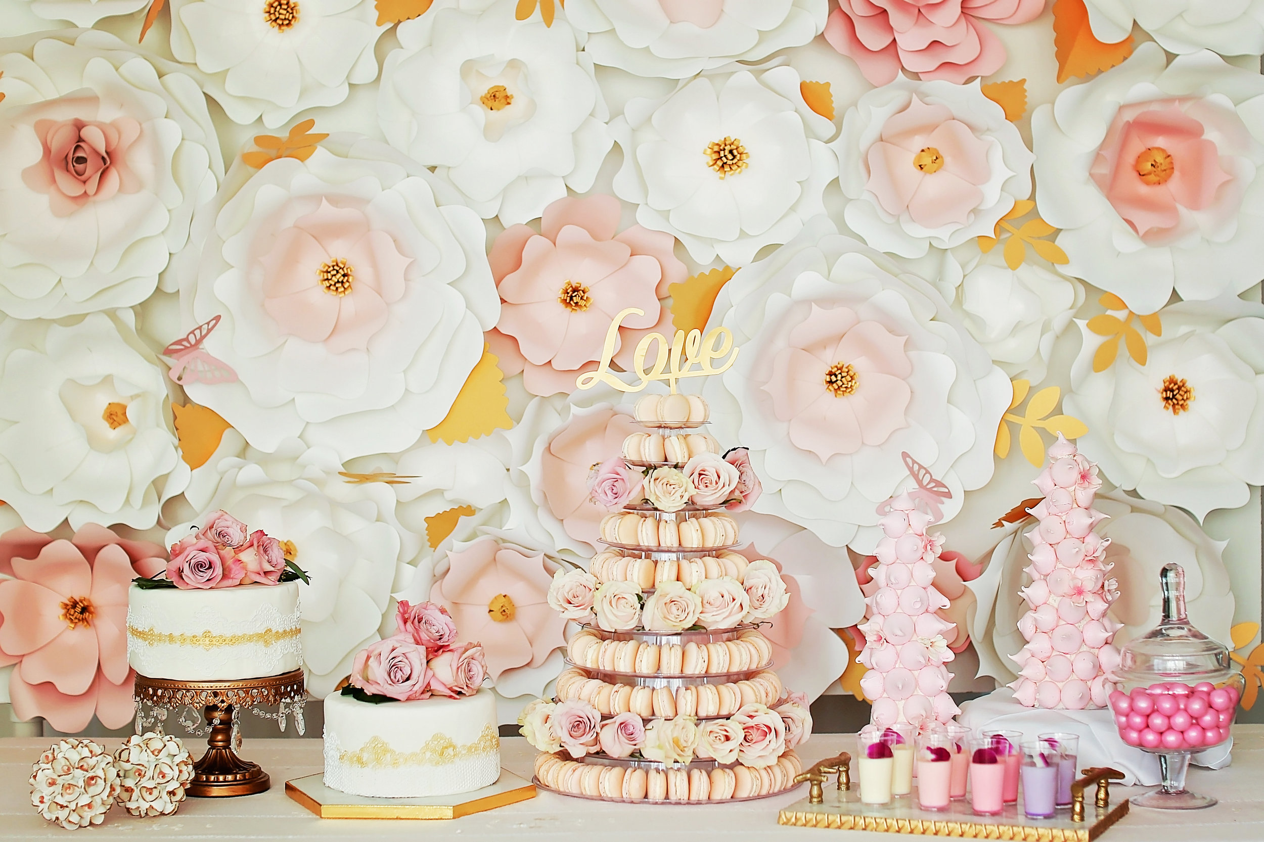 Macaron Tower - Blush wedding dessert buffet