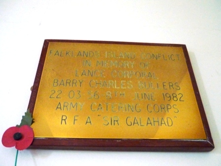 """FALKLANDS ISLAND CONFLICT                  IN MEMORY OF                 LANCE CORPORAL             BARRY CHARLES BULLERS              22 03 56  8TH JUNE 1982              ARMY CATERING CORPS               R F A """"SIR GALAHAD"""""""