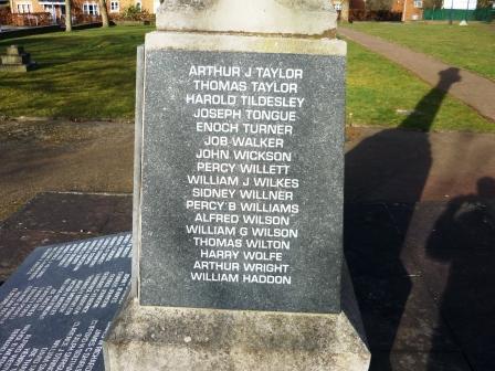 ARTHUR J TAYLOR THOMAS TAYLOR HAROLD TIDSLEY JOSEPH TONGUE ENOCH TURNER JOB WALKER JOHN WICKSON PERCY WILLETT WILLIAM J WILKES SIDNEY WILLNER PERCY B WILLIAMS ALFRED WILSON WILLIAM G WILSON THOMAS WILTON HARRY WOLFE ARTHUR WRIGHT WILLIAM HADDON