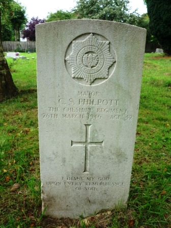 MAJOR            C. S. PHILPOTT       THE CHESHIRE REGIMENT       26TH MARCH 1946 AGE 42           I THANK MY GOD      UPON EVERY REMEMBRANCE                OF YOU