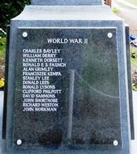 WORLD WAR II  CHARLES BAYLEY WILLIAM DERRY KENNETH DORSETT RONALD E. S. FAUNCH ALAN GRIMLEY FRANCISZEK KEMPA STANLEY LEE DONALD LEES DONALD LYSONS CLIFFORD PHILPOTT DAVID SAMMONS JOHN SHORTHOSE RICHARD WESTON JOHN WORMAN