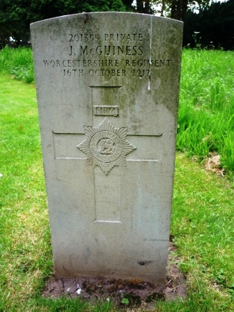 201355 PRIVATE                                 J. McGUINESS                   WORCESTERSHIRE REGIMENT                            16TH OCTOBER 1917