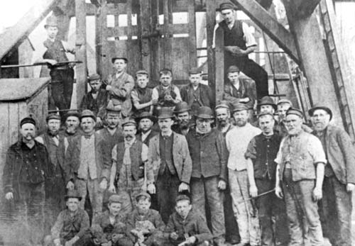Miners photographed at Conduit Colliery, Norton Canes, 1880
