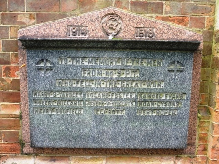 1914  1918                      TO THE MEMORY OF THE MEN                            FROM No. 9 PIT                      WHO FELL IN THE GREAT WAR HARRY B YARDLEY         HUBERT MILLARD       HENRY DUFFIELD ROLAND FOSTER           JOSEPH W ROBERT       ELI BOTT SAMUEL EVANS            NOAH LYSONS           BERT ROPER