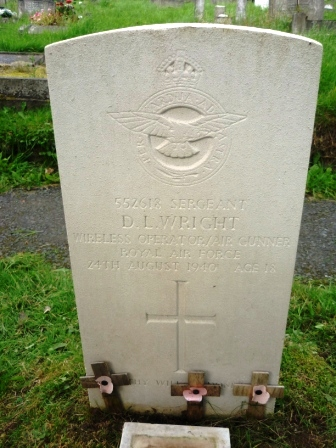 552618 SERGEANT                    D. L. WRIGHT           WIRELESS OPERATOR / AIR GUNNER                  ROYAL AIR FORCE              24TH AUGUST 1940 AGE 18                          +                  THY WILL BE DONE