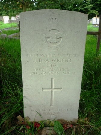 1194511 WARRANT OFFICER                  J. D. A. WRIGHT                      PILOT                 ROYAL AIR FORCE               17TH MAY 1945 AGE 24                        +              GOOD NIGHT, GOD BLESS                     DEAR SON