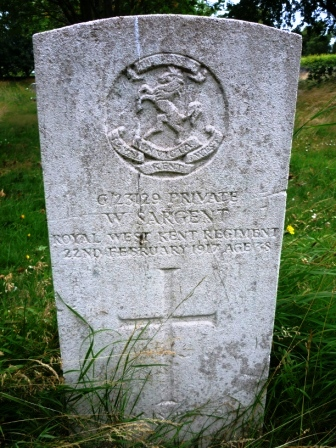 G/23129 PRIVATE           W. SARGENT      ROYAL WEST KENT            REGIMENT   22ND FEBRUARY 1917               AGE 38                    †         REST IN PEACE