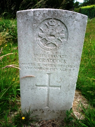 29218 PRIVATE                    J. CRADDOCK         NOTTS & DERBY            REGIMENT        5TH MARCH 1919               AGED 47                        †  PEACE PERFECT PEACE