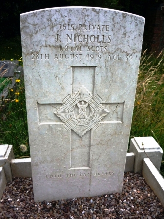 7615 PRIVATE             J. NICHOLLS            ROYAL SCOTS       28TH AUGUST 1919                  AGE 39                      †  UNTIL THE DAY BEAKS