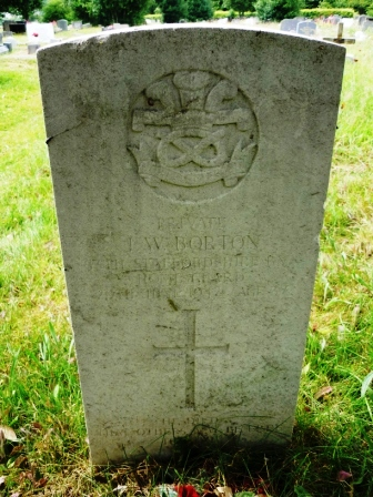 PRIVATE           J. W. BORTON   13TH STAFFORDSHIRE     BN     HOME GUARD   29TH JUNE 1942 AGE 37                       †  HE DIED THAT OTHERS   MAY BE FREE TO LIVE