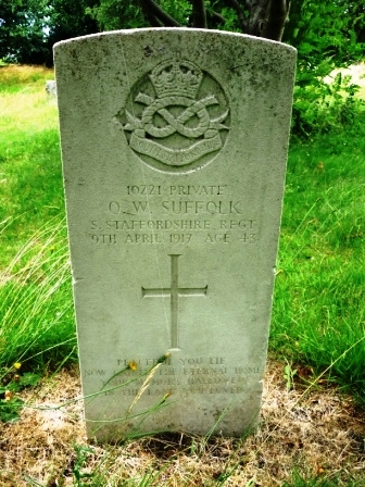 10221 PRIVATE          O. W. SUFFOLK      S. STAFFORDSHIRE                 REGT. 9TH APRIL 1917 AGE 43                     †     PEACEFUL YOU LIE     NOW GAINED THE       ETERNAL HOME        YOUR MEMORY           HALLOWED IN THE LAND YOU LOVE