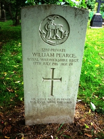 5397 PRIVATE        WILLIAM PEARCE  ROYAL WARWICKSHIRE                   REGT.   17TH JULY 1916 AGE 24                      †      HE SHALL REST IN                 PEACE    FOR EVER WITH THE                 LORD