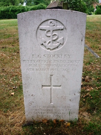 """E. G. STOCKLEY PETTY OFFICER. RN. D/J          21037  H.M.S. """"NEWMARKET""""    9TH MARCH 1941        AGE 44    DEEP IN OUR HEARTS  YOUR MEMORY IS KEPT   WE LOVED YOU TOO      DEARLY TO EVER            FORGET"""
