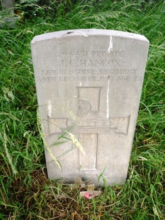 204431 PRIVATE                                J. C. HANCOX                  LINCOLNSHIRE REGIMENT                24TH DECEMBER 1918 AGE 22                                        EGYPT                              LINCOLNSHIRE                              GAVE HIS LIFE                    FOR KING AND COUNTRY