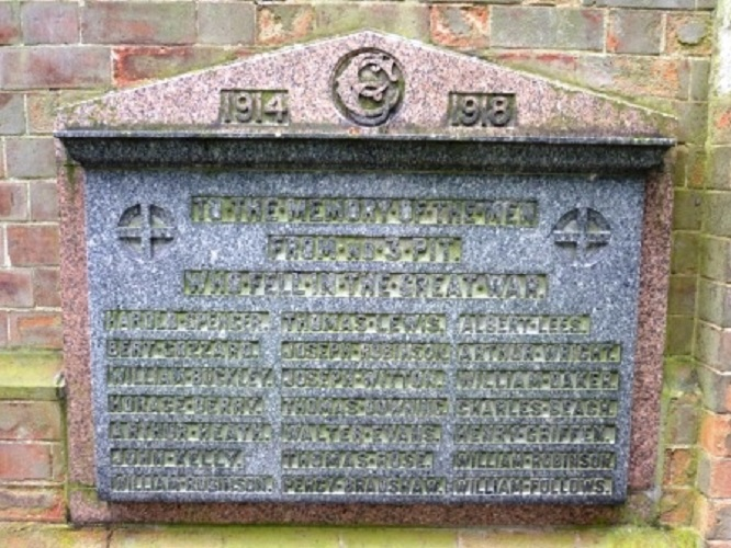 Wall plaque at St Anne's Chasetown dedicated to the men from No3 Pit