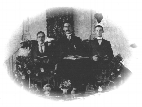 Walter (centre) with two of his brothers in Zion Methodist Chapel, High Street, Chasetown