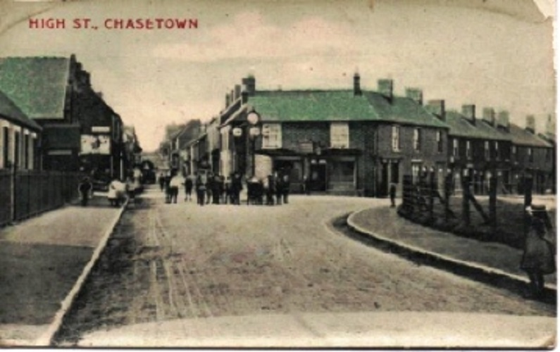 The junction of Queen Street and High Street, Chasetown. Walter lived at 2 Queen Street, just out of camera shot