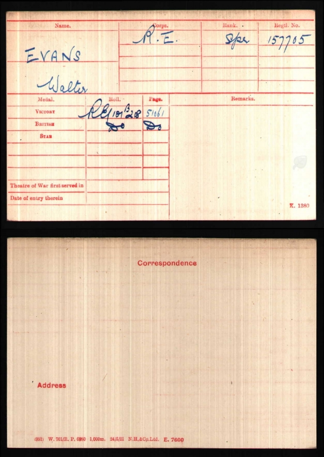 WALTER'S MEDAL ROLL INDEX CARD