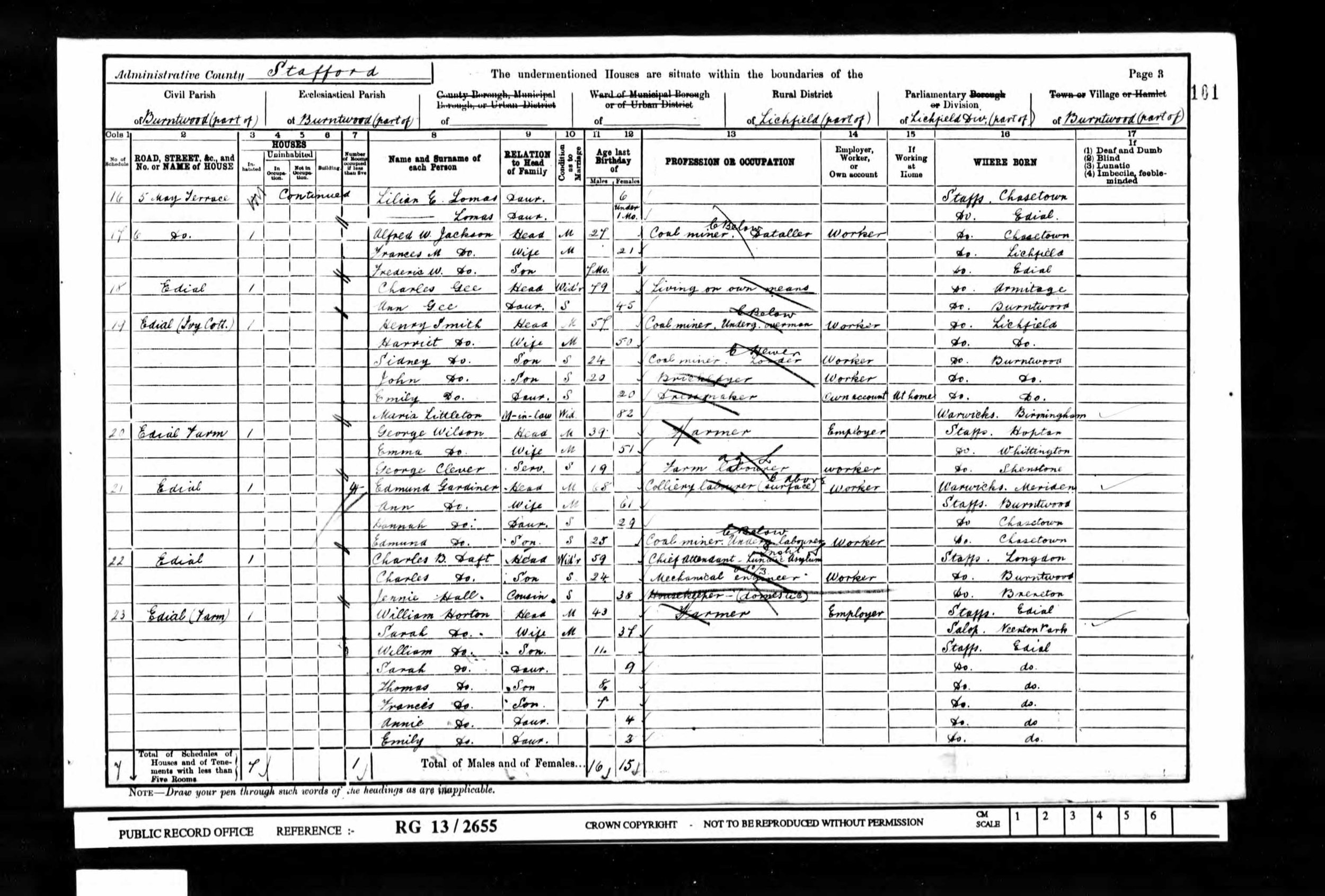 Extract from the 1901 census