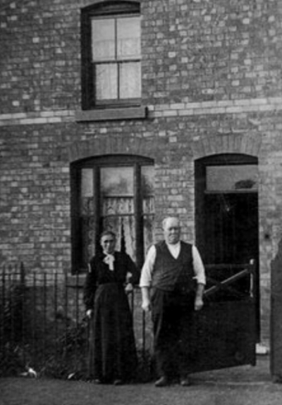 John and Sarah Lomas outside 86 Queen Street, Chasetown