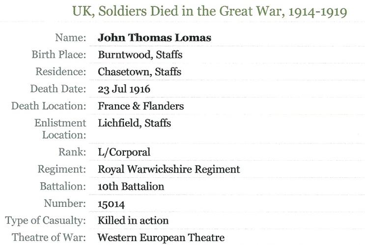 Record of the death of John Thomas Lomas in 1916