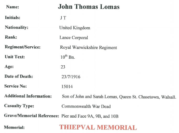 Death Record © Commonwealth War Graves Commission