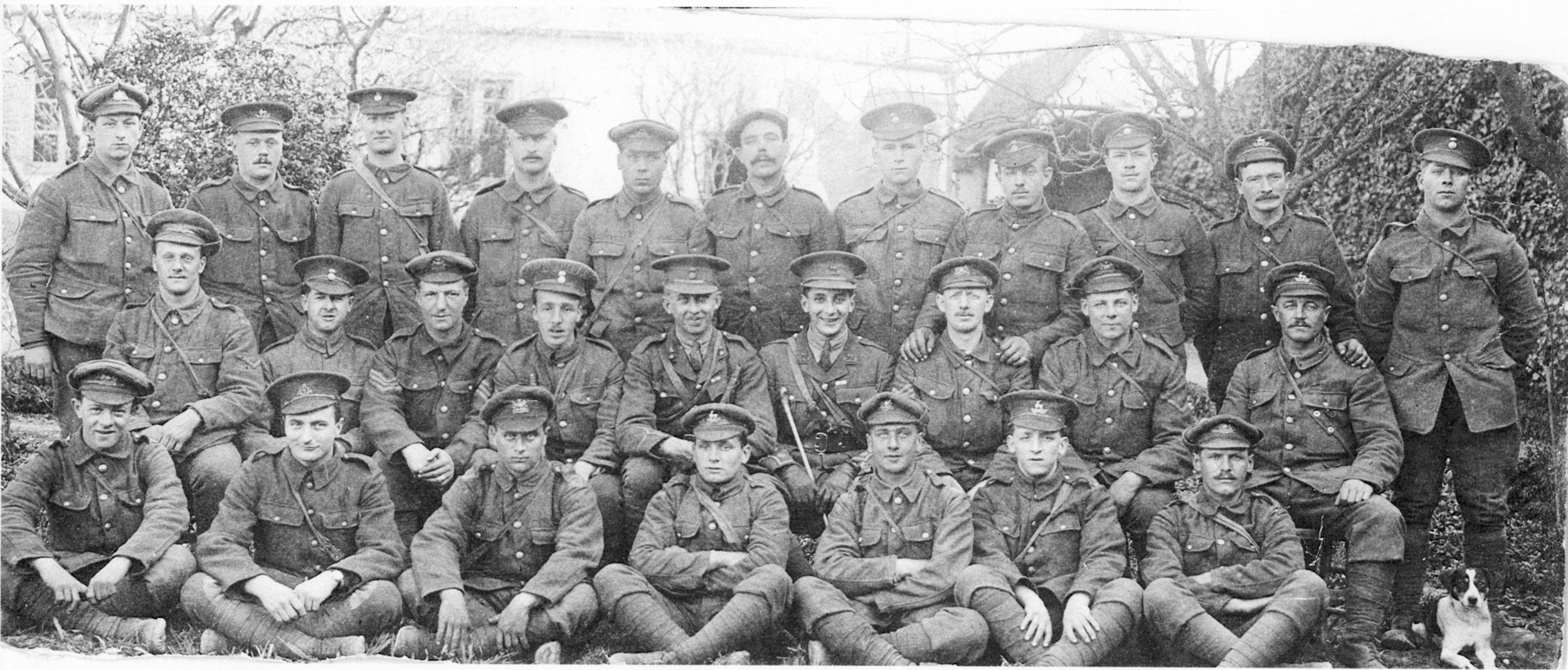 Grenadier Company of the 1st Royal Welch Fusilier.   Joseph Witton on the extreme right. Siegfried Sassoon, the WW1 Poet, 6th from the left in the middle row.