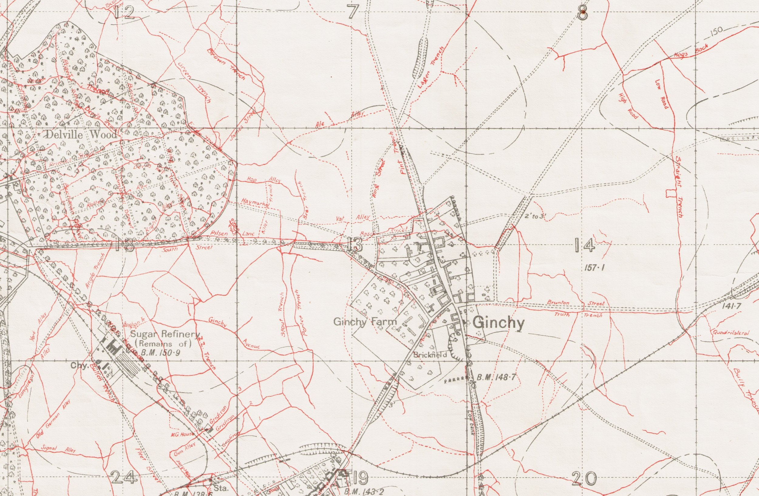 1916 Trench Map of Delville Wood (left) / Ginchy village (right)