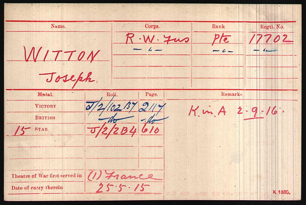 Joseph Witton's Medal Roll Card