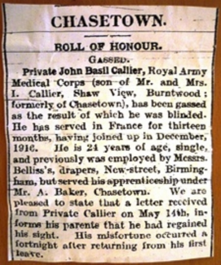 Entry in the Walsall Pioneer Newspaper