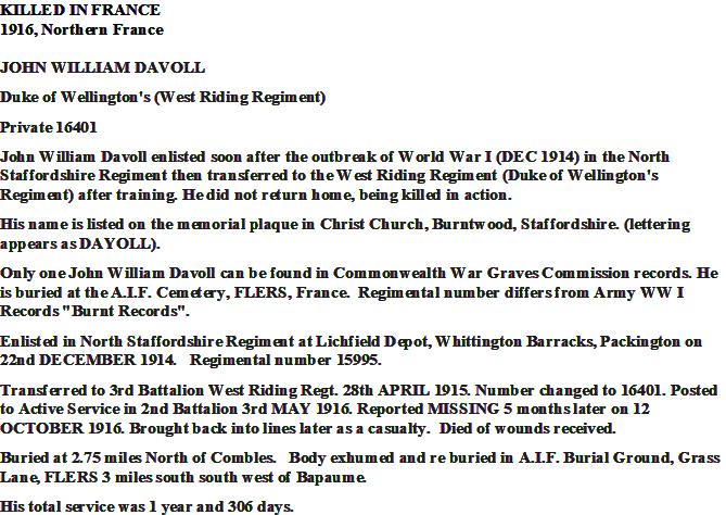 John William Davoll's Service Record