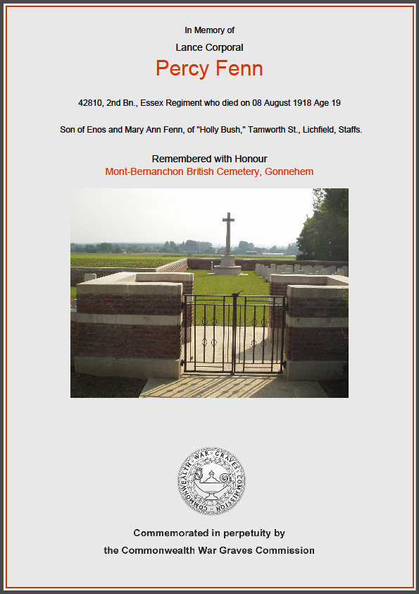 CWGC Commemorative Certificate for Percy Fenn