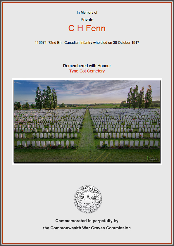 CWGC Commemorative Certificate for Charles Fenn