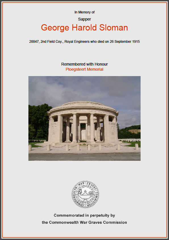 CWGC Commemorative Certificate for George Harold Sloman
